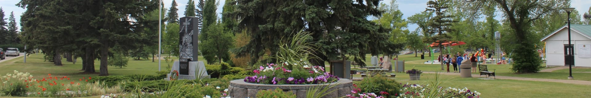 Landscape shot of flowers in Centennial Park in the Town of Olds