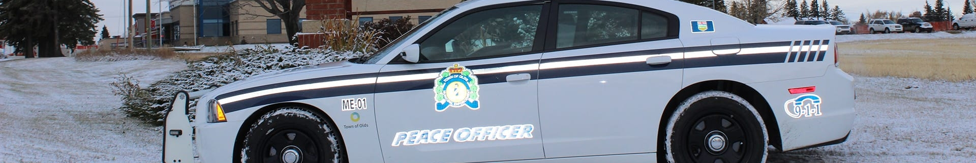 Town of Olds peace officer vehicle in a winter setting