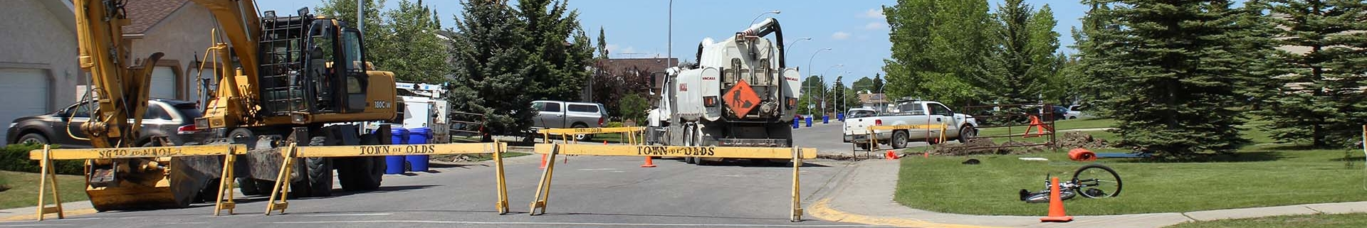 Town of Olds construction site on residential road