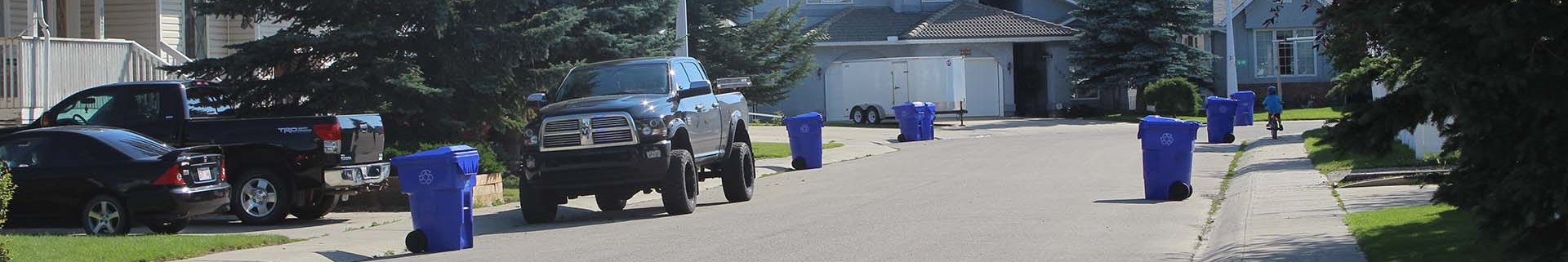 Residential street in the summertime with blue bins in front of driveways